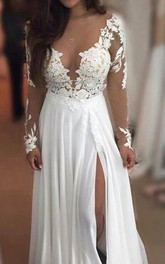 V-neck Chiffon Lace Long Sleeve Floor-length Appliques Pleats Embroidery Dress