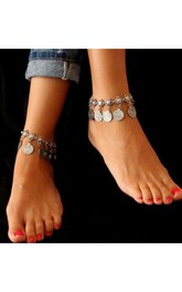 Fashion With The Retro Style Metal Coin Tassel Anklets 28Cm