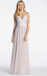 blushing Two-tone Spaghetti Long Bridesmaid Dress