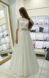 Satin Beadwork Pleats Lace Half-Sleeve Dress