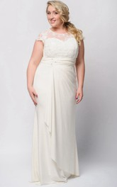 Short-Sleeve Draping Floor-Length Sheath Zipper Jersey Gown