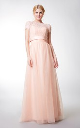 Long Jacket Tulle Sleeveless Sweetheart Floor-Length Bridesmaid Dress