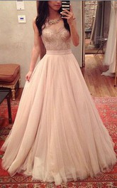 Sleeveless Long Tulle Sweetheart A-Line Floor-Length Pleated Dress