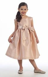 Tiered Cap-Sleeve 3-4-Length Taffeta Flower Girl Dress