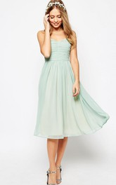 Spaghetti Sweetheart Ruched Chiffon Tea-length Dress With Ruching