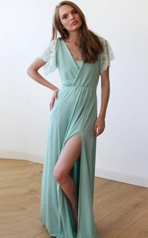 V-neck Poet-sleeve Front-split long Dress With Lace