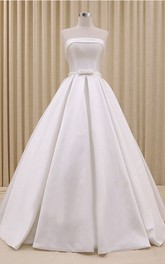 Princess Strapless Corset Ballgown Wedding Dress With Ruching And Bow Delicated Belt