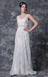 Pleated Beaded Belt Lace V-Neckline Sleeveless Long Gown