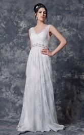 Pleated Beaded Belt Lace V-Neckline Sleeveless Long Gown