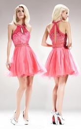 A-Line Satin Jeweled Sequined Short Mini Sleeveless Scoop-Neck Tulle Dress