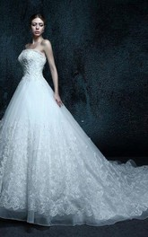 Lace Appliqued Strapped A-Line Gown