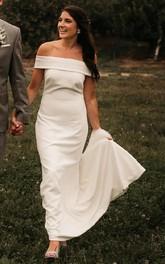 Off-the-shoulder Satin Sleeveless Court Train Zipper Trumpet Wedding Dress