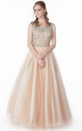 Scoop-neck Sleeveless A-line Tulle Prom Dress With Beaded top