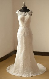 Fit-And-Flare Wedding Cap-Sleeve Bateau-Neckline Lace Dress
