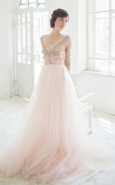 V-Neck Illusion Long Sleeve Tulle A-Line Dress With Beading