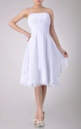 Short-Midi Asymmetrical Design A-Line Strapless Gown