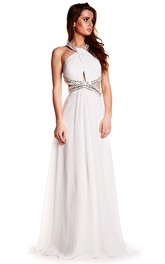 Sleeveless Beaded Halter Chiffon Prom Dress With Brush Train