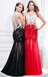 Bateau Lace Appliques Sheath Sleeveless Prom Dress With Illusion back