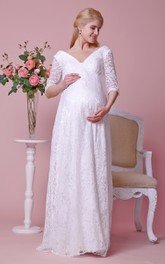 Deep-V-Neckline 3 4 Sleeves Lace Allover Gown