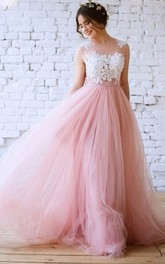 A Line Sleeveless Tulle Modern Button Illusion Formal Dress with Lace