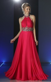 A-Line Waist Jeweler Beaded Jewel-Neck Chiffon Backless Dress