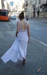 Scoop-neck Sleeveless Chiffon Dress With Lace