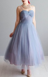 Spaghetti-strap Tulle Ankle-length Ruched Dress With Pleats