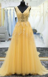 A Line Sleeveless Tulle Adorable Lace-up Back Low-V Back Prom Dress