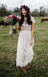 Simple Jewel Short Sleeve Lace A-Line Sheath Wedding Dress
