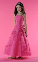 Drape Embroidery Floral Spaghetti-Strap Flower Girl Dress