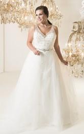 V-Neckline Long-Train Jewel Ball-Gown Princess Deep-V-Back Tulle Dress