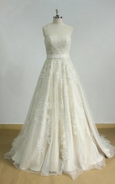 Lace Light Champagne Lining Tulle A-Line Bridal Dress