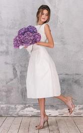Bateau Sleeveless Satin Tea-length Wedding Dress