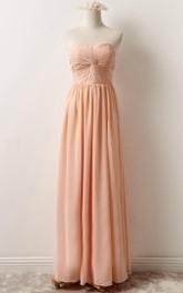 Chiffon Sweetheart Ruched Sheath long Bridesmaid Dress With Pleats