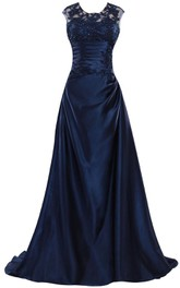 Ruched-Bodice Satin Crystal Sleeveless Long Gown