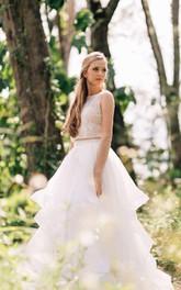 Lace Illusion Satin Ball-Gown Princess Bridal Organza Dress