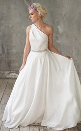 One-shoulder Sleeveless Floor-length Dress With Jeweled Waist