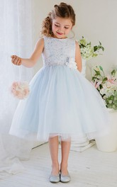 jewel-neck Sleeveless Tulle Flower girls dresses With Lace top
