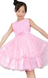 Jewel-Neck Sleeveless A-line Knee-length Tulle Flower Girl Dress