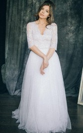 Plunged Half Sleeve Lace Tulle A-line Wedding Dress With Illusion And Sweep Train