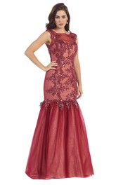Mermaid Bateau Sleeveless Appliqued Prom Dress With Illusion