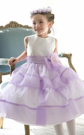 Jeweled Slit Front 3-4-Length Floral Organza Flower Girl Dress