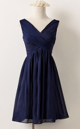 V-neck short Sleeveless A-line Chiffon Bridesmaid Dress