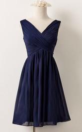 V-neck short Sleeveless A-line Chiffon Bridesmaid Dress