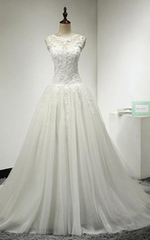 Bridal Lace Top Dropped Waist Tulle A-Line Gown