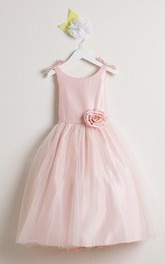 Scoop-neck A-line Satin Tulle Flower Girl Dress With bow