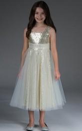 3-4-Length Sequin Lining Bateau-Neckline High-Waist Flower Girl Dress