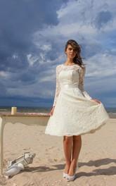 Short Satin Ribbon Long-Sleeve Jewel-Neckline Dress