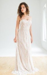 Sweetheart Sheath Lace Floor-length Wedding Dress With Zipper