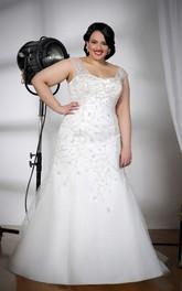 Cap-sleeve Mermaid Tulle Satin plus size wedding dress With Beading